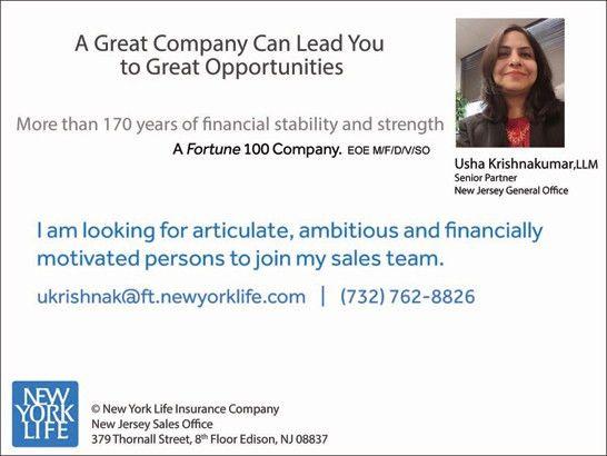 Financial Advisor Job in Edison, NJ by Usha Newyorklife Insurance ...