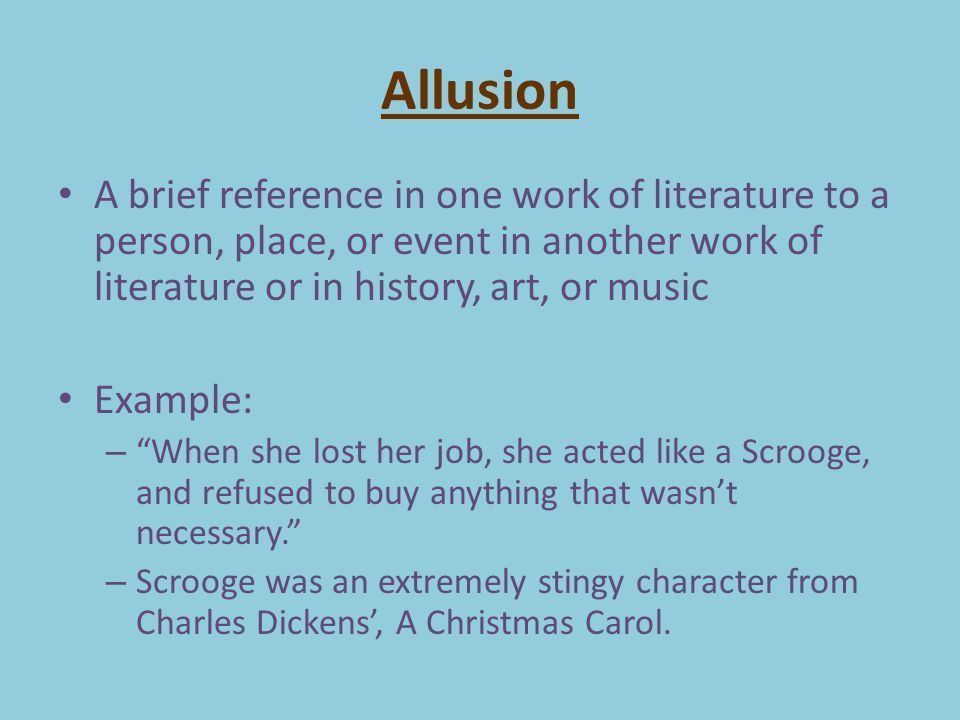 Examples of allusion - admissions guide