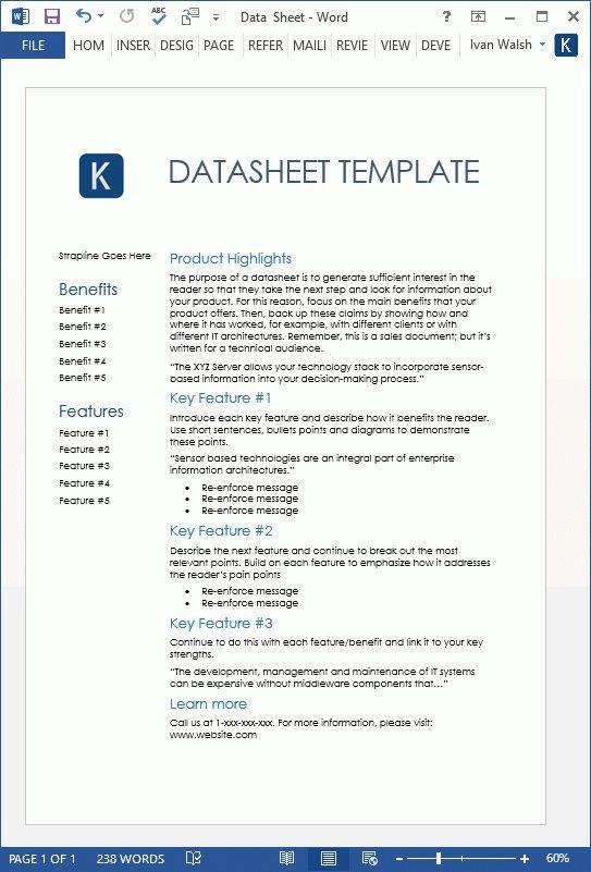 Datasheet Templates (2 x MS Word)