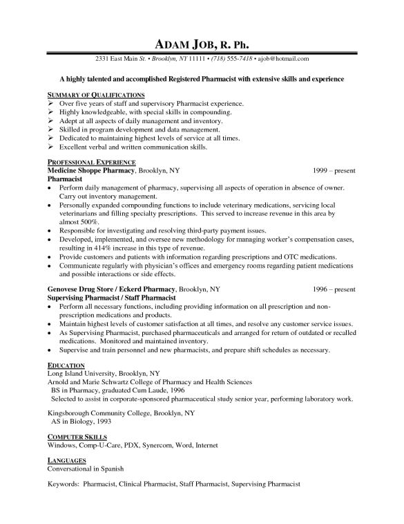 Talented Pharmacist Resume Example with Professional Experience ...