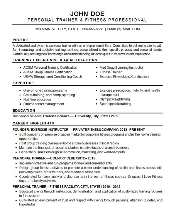 Sports Fitness Resume Example - Exercise Instructor & Trainer