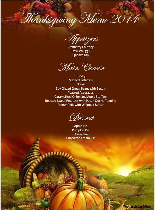 5 Free Thanksgiving Party Menu Templates – Stationery Templates
