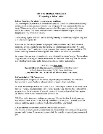 FREE REPORT - 13 Mistakes When Writing A Sales Letter-348x450 -