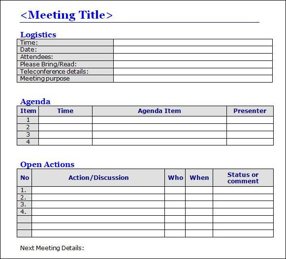 meeting summary template