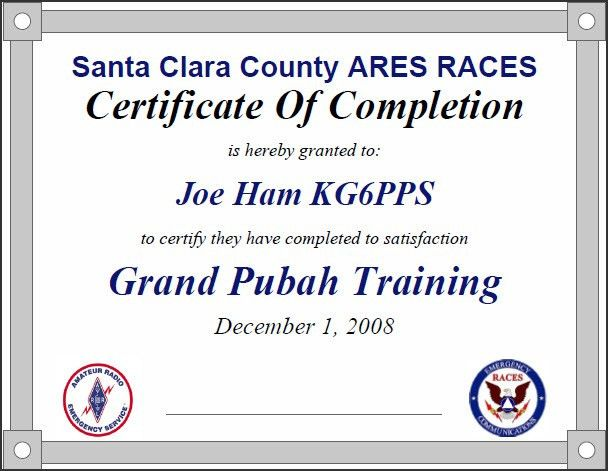 Santa Clara County ARES/RACES Calendar of Events
