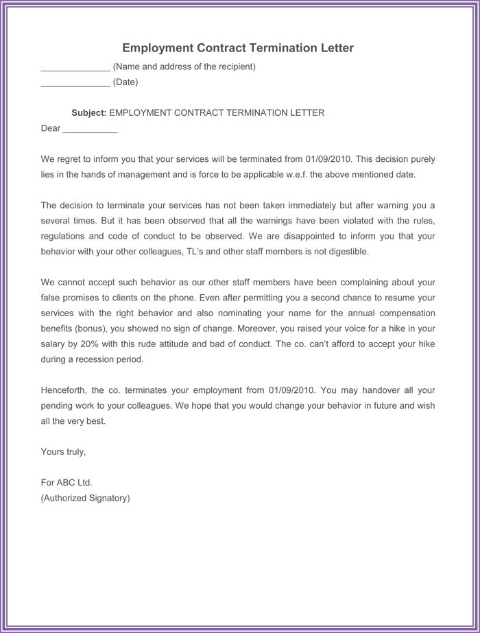 nanny termination letter sample. sample contract termination ...