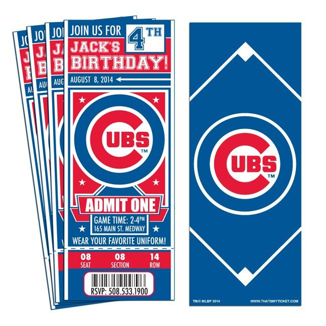 12) Custom Chicago Cubs Birthday Party Ticket Invitations With ...