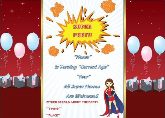 Superhero Birthday Party Invitations : 30+word templates - Demplates