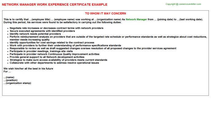 Network Manager Work Experience Certificate
