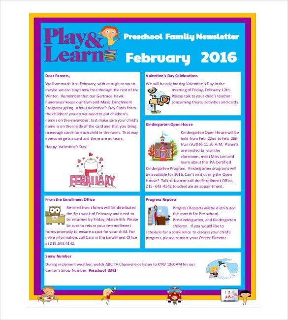 10+ Preschool Newsletter Templates – Free Sample, Example, Format ...