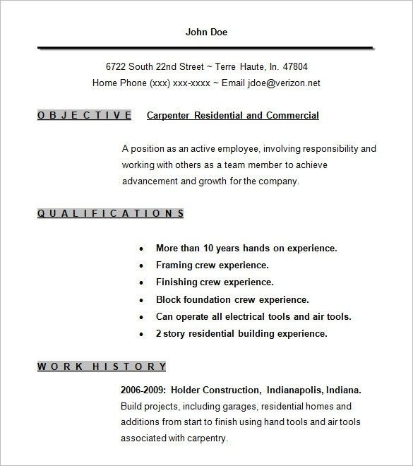 Carpentry Resume | The Best Resume