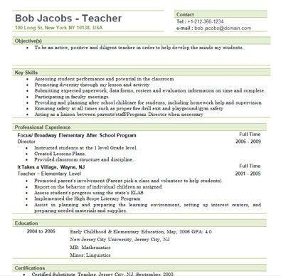 Free Sample Elementary Teacher Resume Template