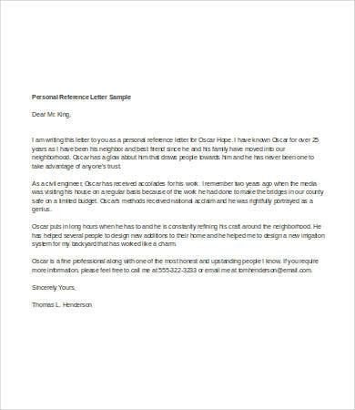 Personal Reference Letter Template - 7+ Free Word, PDF Documents ...