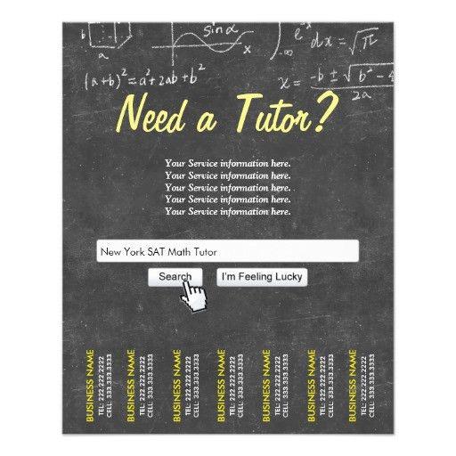 Professional Chalkboard Search Bar Math Tutor Personalized Flyer ...