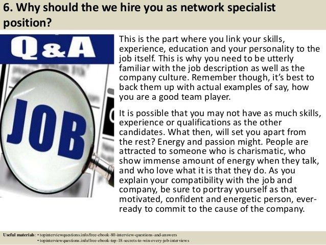 Top 10 network specialist interview questions and answers