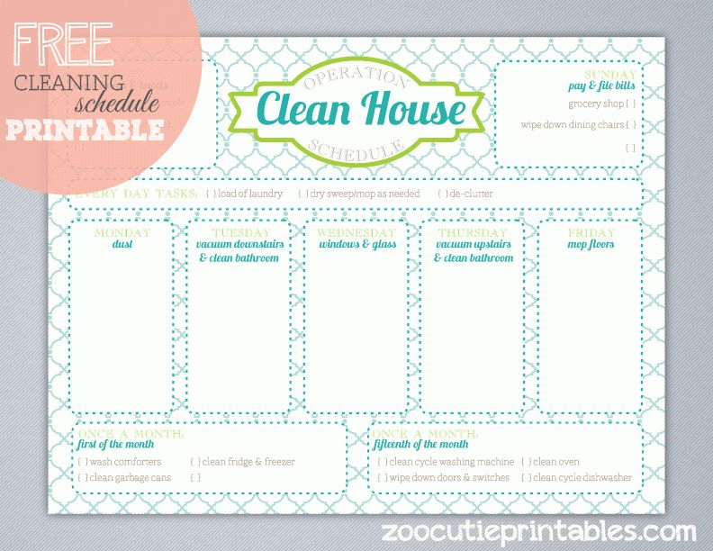 Free Operation Clean House Printable www.247moms.com #247moms ...