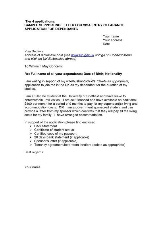 Visa Covering Letter Format Best Template Collection Throughout ...