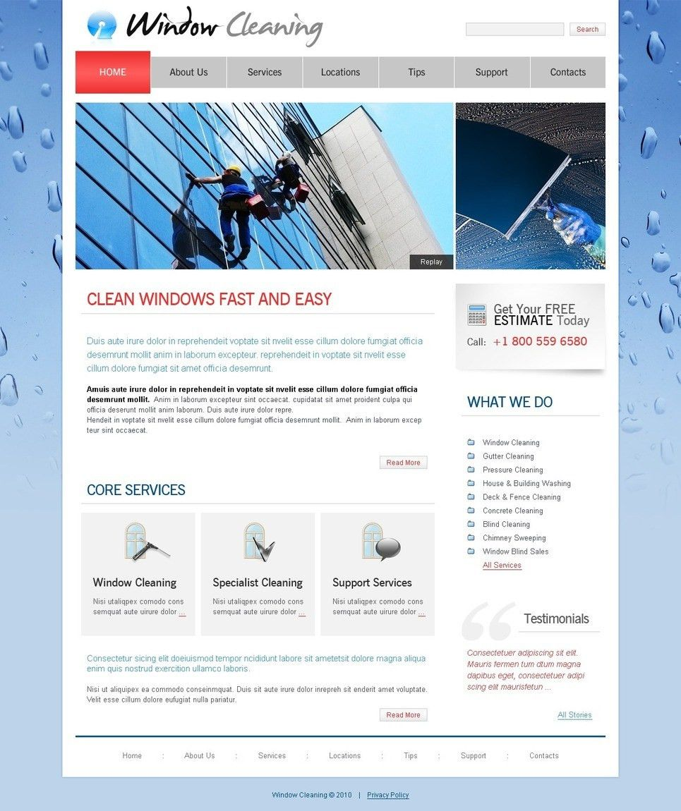 Window Cleaning Website Template #26958