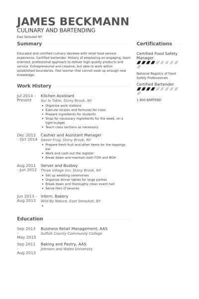 Kitchen Resume samples - VisualCV resume samples database