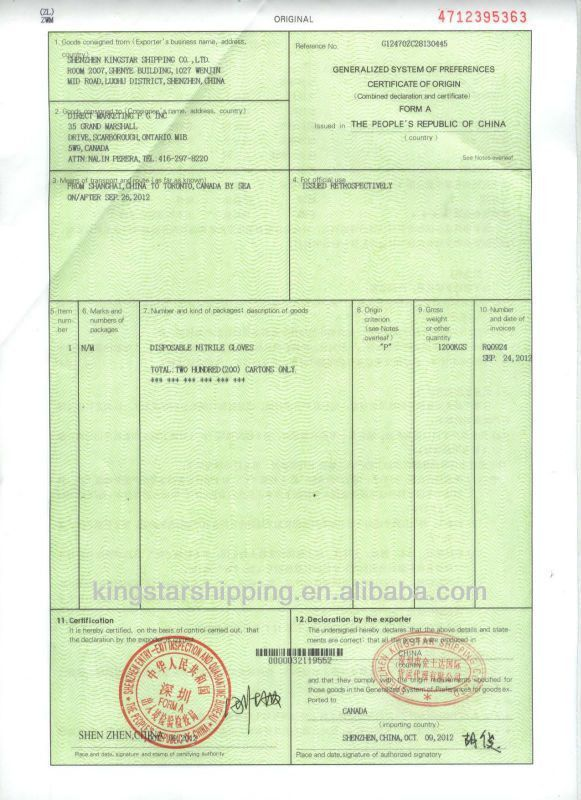 Certificate Of Origin Form China To Germany Form A-special - Buy ...