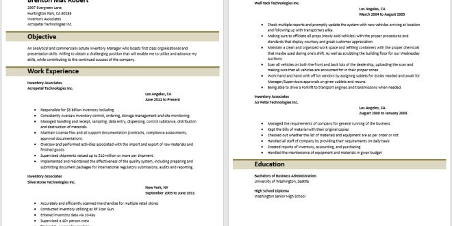 Inventory Management Associate Resume – Best Resume Examples
