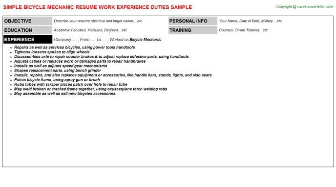 Bicycle Mechanic Resume Sample
