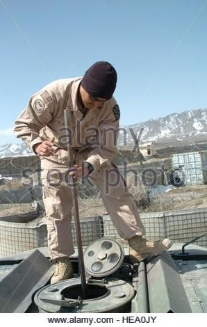 A U.S. Army petroleum supply specialist from the 941st Quarter ...