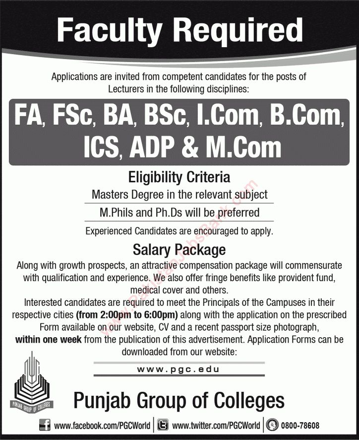 Punjab Group of Colleges Jobs 2015 September / October Application ...