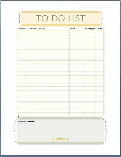 Microsoft To Do List Template For Word Office To Do List Template – Microsoft Word to Do List Template