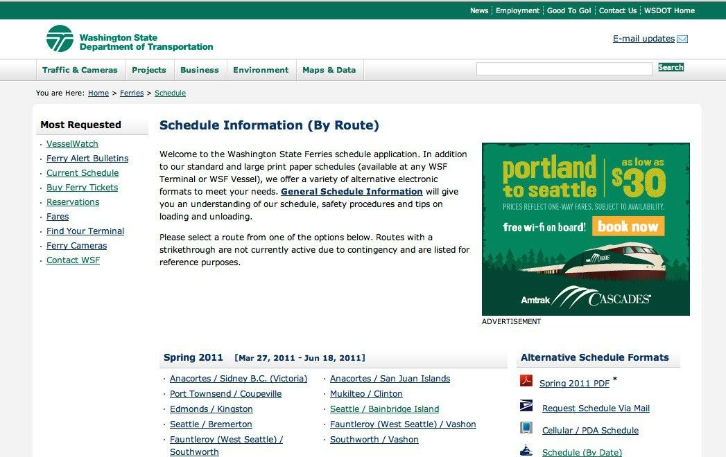 WSDOT - Examples of Advertising on Ferry Web Pages