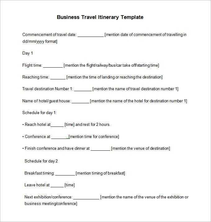 40+ Travel Itinerary Templates - Free Sample, Example Format ...