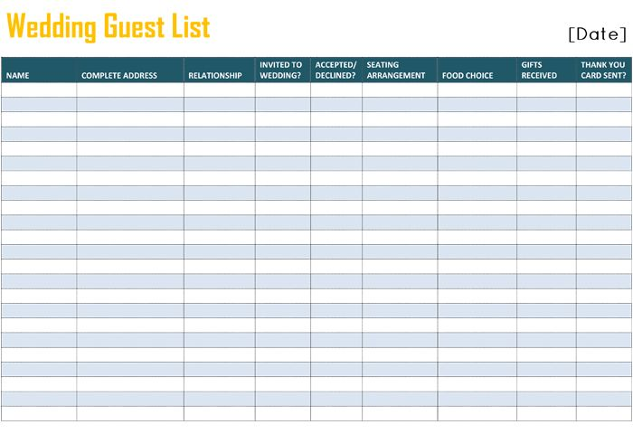 Printable Wedding Guest List Template for Word and Excel®