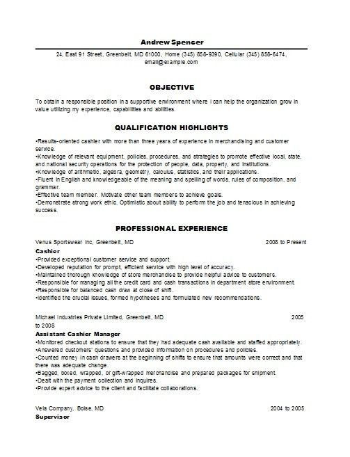 Resume samples grocery store cashier