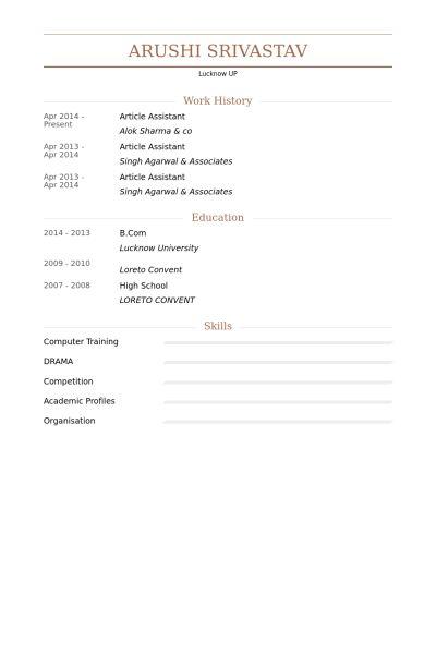 Article Assistant Resume samples - VisualCV resume samples database
