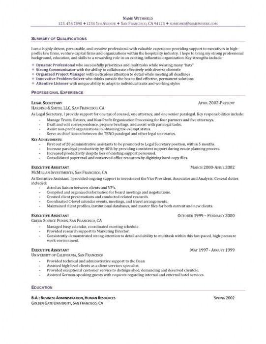Elegant Samples Of Executive Assistant Resumes | Resume Format Web