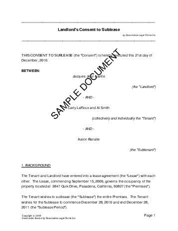 Landlords Consent To Sublease (south Africa) - Legal ...