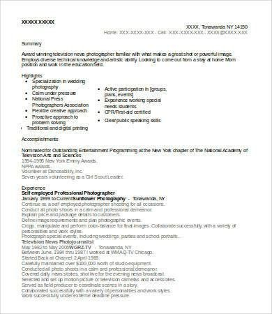 9+ Photographer Resumes - Free Sample, Example, Format | Free ...