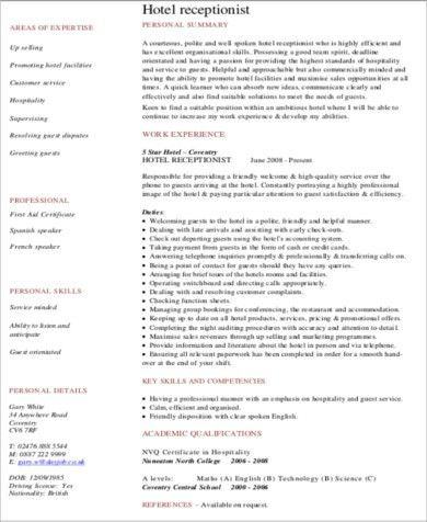 Hotel resume objective [template.billybullock.us]