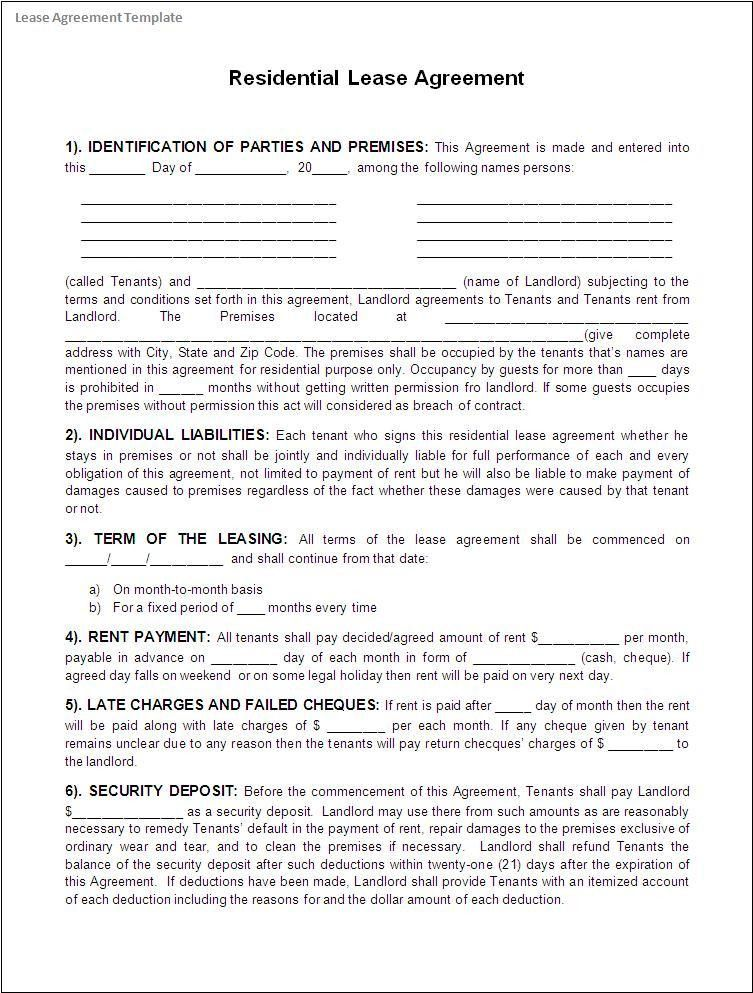 Free Download Rental Agreement Templates : Vlcpeque