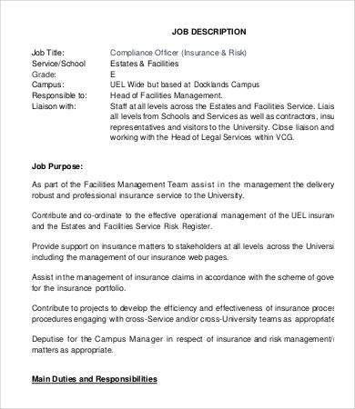 Compliance Officer Job Description - 9+ Free Word, Excel, PDF ...