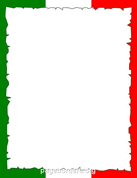 Printable Italian flag border. Use the border in Microsoft Word or ...