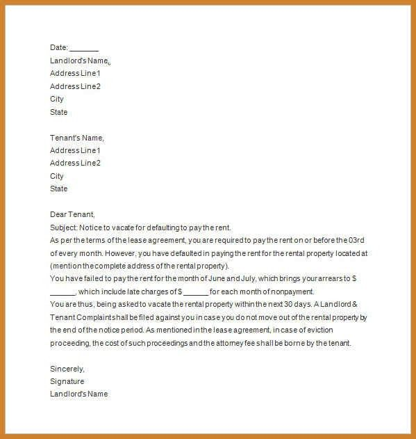 notice to vacate template | notary letter