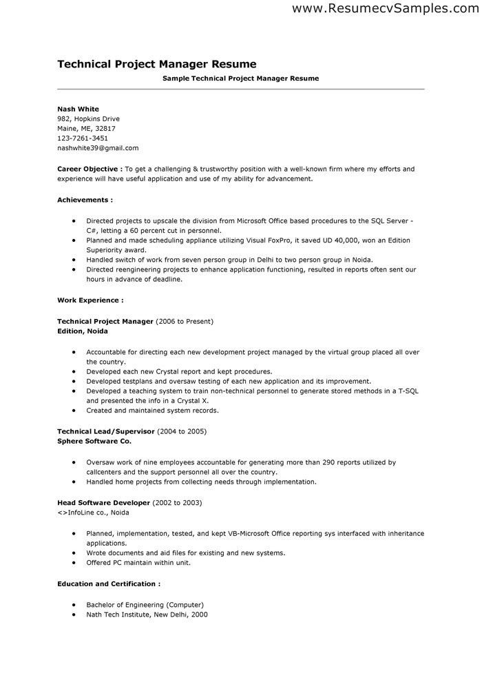Resume Objective Manager Position. 6 resume objective for ...