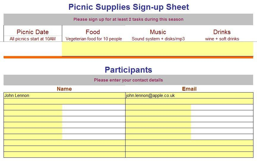 Sample Sign Up Sheet. Uploaded By, Misha Shafana Sign In Sheet ...