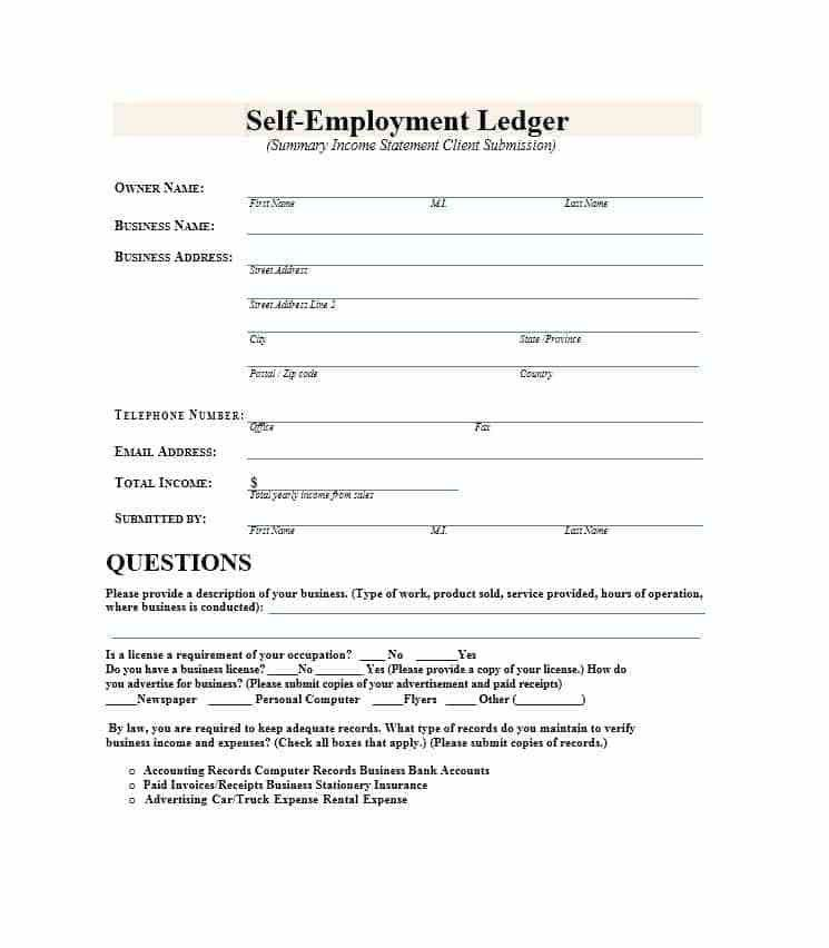 Self-Employment Ledger: 40 FREE Templates & Examples