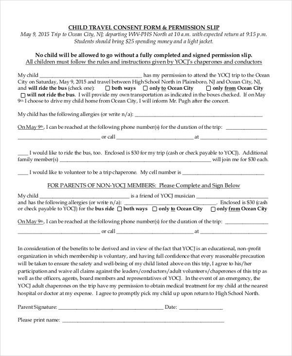 Sample Child Travel Consent Form - 8+ Free Documents in PDF, Doc