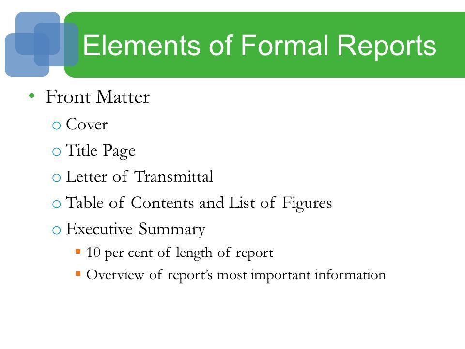 11 Proposals and Formal Reports. Introduction Proposals o Informal ...