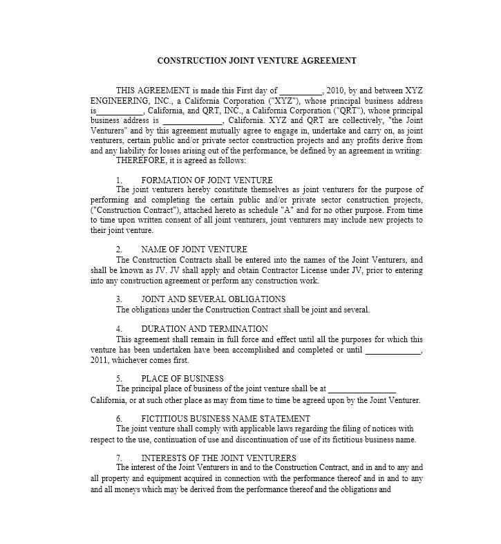 53 Simple Joint Venture Agreement Templates [PDF, DOC] - Template Lab