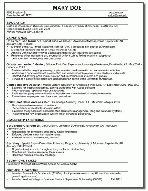 Sample Resume For Any University Student | Experience Resumes