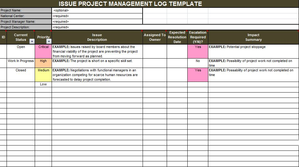 Download Issue Project Management Templates | Projectemplates